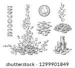 sketch set of coins in... | Shutterstock .eps vector #1299901849