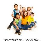 happy diversity looking boys... | Shutterstock . vector #129992690