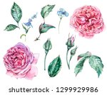 floral  set of classical... | Shutterstock . vector #1299929986