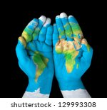 map painted on hands.concept of ... | Shutterstock . vector #129993308
