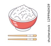 rice bowl and chopsticks... | Shutterstock .eps vector #1299960439