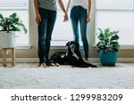 happy couple at home with dog | Shutterstock . vector #1299983209