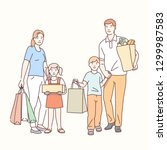 family shopping together... | Shutterstock .eps vector #1299987583