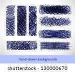 set of hand drawn banners for... | Shutterstock .eps vector #130000670