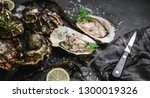 fresh opened oysters with lemon ... | Shutterstock . vector #1300019326