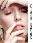 closeup macro shot of female...   Shutterstock . vector #1300028599