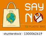 eco fabric cloth bag tote with... | Shutterstock .eps vector #1300062619