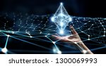ethereum symbol and connection... | Shutterstock . vector #1300069993