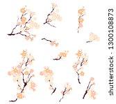 sakura tree set isolate vector... | Shutterstock .eps vector #1300108873