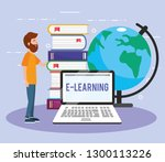 man with laptop technology and... | Shutterstock .eps vector #1300113226