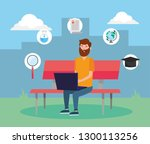 man with taptop technology to... | Shutterstock .eps vector #1300113256