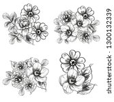 flowers set. collection of... | Shutterstock .eps vector #1300132339