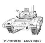 blueprint of realistic tank.... | Shutterstock .eps vector #1300140889