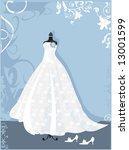 wedding dress   Shutterstock .eps vector #13001599