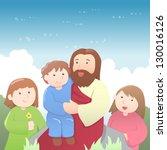 jesus christ with kids cartoon | Shutterstock .eps vector #130016126