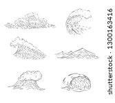 set of sea waves. surf waves...   Shutterstock .eps vector #1300163416