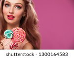 beautiful pink lips with a... | Shutterstock . vector #1300164583