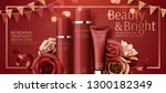 attractive cosmetic banner ads...   Shutterstock .eps vector #1300182349