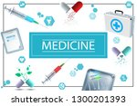 realistic medicine concept with ... | Shutterstock .eps vector #1300201393