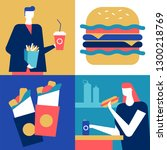 fast food   flat design style... | Shutterstock .eps vector #1300218769