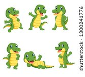 collection of cute crocodile... | Shutterstock . vector #1300241776