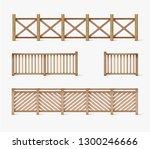 vector different wooden fences... | Shutterstock .eps vector #1300246666