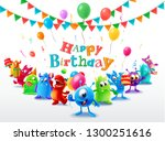happy birthday with cute monster | Shutterstock .eps vector #1300251616