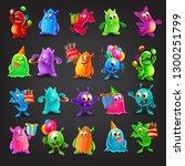 set of cute monster | Shutterstock .eps vector #1300251799