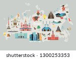russia vector map  hand drawn... | Shutterstock .eps vector #1300253353