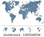 world map   high detailed vector | Shutterstock .eps vector #1300268536