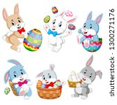set of cute easter rabbits with ... | Shutterstock .eps vector #1300271176