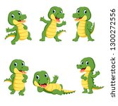 collection of cute crocodile... | Shutterstock .eps vector #1300272556