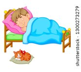 Stock vector sleeping boy in bed with a kitten 1300273279