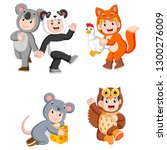 collection children wearing... | Shutterstock .eps vector #1300276009