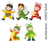 collection of children wearing... | Shutterstock .eps vector #1300276243