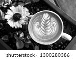 black and white shot of coffee... | Shutterstock . vector #1300280386