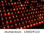 lots of red candles in a church | Shutterstock . vector #130029113