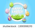 happy easter background... | Shutterstock .eps vector #1300308193