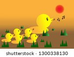 family duck sing a song on... | Shutterstock .eps vector #1300338130