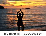 silhouette of a woman doing... | Shutterstock . vector #1300341619