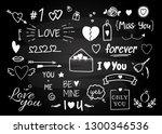 set of hand drawn doodle love... | Shutterstock .eps vector #1300346536