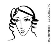 vector simple hand drawn black... | Shutterstock .eps vector #1300361740