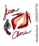 mon cherie slogan with red... | Shutterstock .eps vector #1300379776