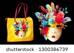 floral mask illustration. bag... | Shutterstock .eps vector #1300386739