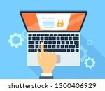 data privacy system on computer.... | Shutterstock . vector #1300406929
