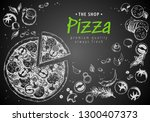 italian pizza top view frame. a ... | Shutterstock .eps vector #1300407373