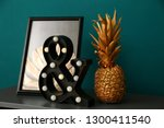 golden pineapple with stylish... | Shutterstock . vector #1300411540