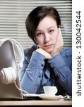 woman with coffee nearest the... | Shutterstock . vector #130042544