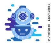 diving helmet. flat art. vector ...   Shutterstock .eps vector #1300425859