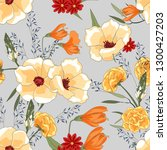 flower pattern with hand drawn... | Shutterstock .eps vector #1300427203